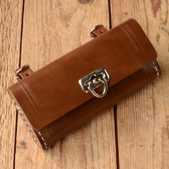 Satteltasche Lefa, braun, Standardabmessung  150 x 75 x 35mm, Beschläge vernickelt, passend für alle Klassiker