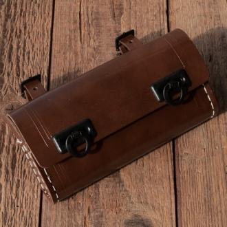 Satteltasche Lefa, braun, Standardabmessung  155 x 75 x 35mm, Beschläge Kunststoff schwarz