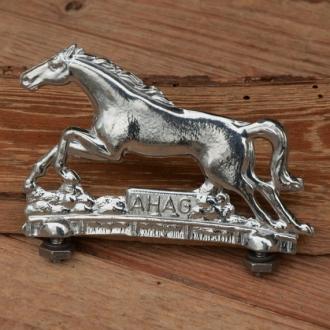"Schutzblechfigur ""AHAG Pferd"",  Alu Druckguss, orig. Altbestand"