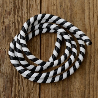 Zierspirale / Bowdenzugummantelung, schwarz-weiss, 120cm lang, orig. Altbestand