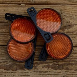 Rückstrahler / Reflektor, Speichenmontage, Kunststoff, Strahleneinsatz orange, D=70mm, Satz 4 Stück