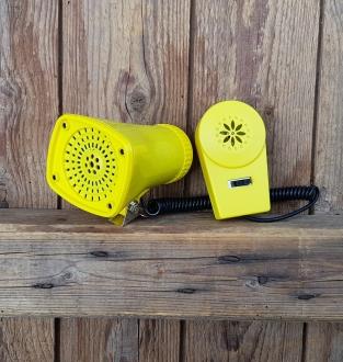 """Kojak Horn """"4 Way Super Sirene"""", gelb-schwarz, pass. Halter für Lenkerklemmschraube, 70/80er Jahre"""
