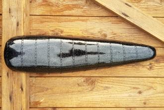 Sattel Bonanza/Polo (Bananensattel), Glitterlook schwarz, Standardausführung der 70er J. , 46 cm