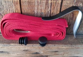 """Lenkerband """"Baumwolle"""", rot, 30 mm breite und  extra dicke Ware für ein gutes Griffgefühl!, Satz incl. Stopfen etc."""