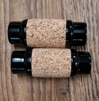 Holzgriffe mit Korkauflage, schwarz, Kork naturfarben, 25mm, ca. 90mm lang