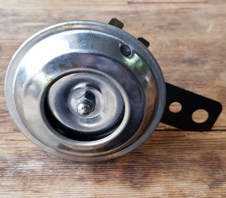Hupe für Motorrad / Motorfahrrad / Moped, 6 Volt, klassische Ausführrung, D=70mm, Halterung Metall schwarz