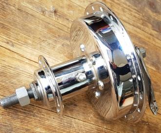 """Vorderrad Nabe m. Trommelbremse """"Sachs V100"""" für 98 ccm Motorfahrräder, neu verchromt und lackiert, Einbaumaß ca. 104 mm"""