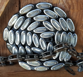 """Fahrradkette Shimano """"olive-chain"""""""" 1/2 x 1/8 Zoll, 114 Glieder, Kultkette für Fahrradklassiker in Standardlänge, schwarz -silber"""