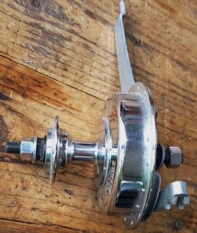 """Trommelbremsnabe aus """"Sturmey Archer"""" Produktion, 32 Loch, verchromt, unbenutzt aus altem Bestand, 60-70er J."""