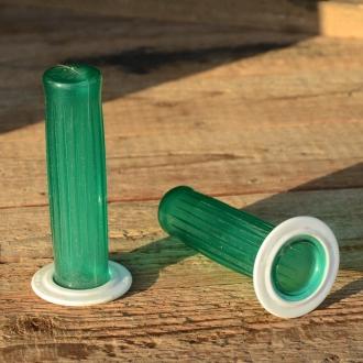 """Kunststoffgriff """"Längsrille"""", transparent-grün,  22mm, 60/70er Jahre, orig Altbestand"""
