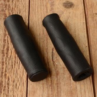 Ledergriff Ziegenleder schwarz, 22mm, 120mm lang