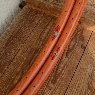 """Holzfelgen Satz f. Drahtreifen """"klassische Form"""", 26"""" x 1 1/2  !!! (584) !!!,  rotbraun gebeizt,  36 Loch , 31 mm breit"""