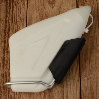 """Trinkflasche """"AERO"""", incl. Halter, flache aerodynamische Form, weiss, Kunststoff, orig. Altbestand, 80er Jahre, NOS"""
