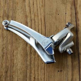 """Umwerfer """"CAMPAGNOLO"""", 2-fach, Aluminium, für Anlötsockel, 80er Jahre,  NOS"""