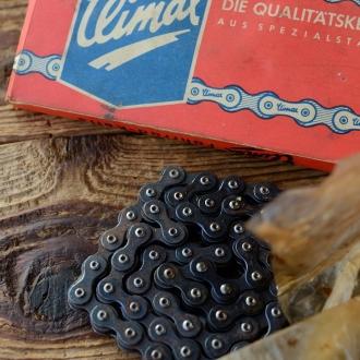 """Fahrradkette """"CLIMAX """" 1/2 x 1/8 Zoll, 112 Glieder, incl. Schloß, orig. 30-50er Jahre Altbestand,"""