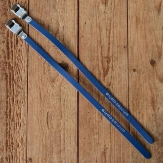 "Pedalriemen ""CHRISTOPHE / LAPIZE"", blau, Leder, hochwertige Ausführung"