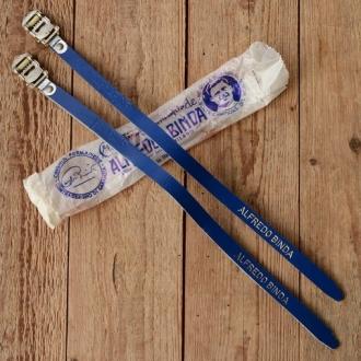 """Pedalriemen """"ALFREDO BINDA"""", blau, Leder, orig. Altbestand 60/80er Jahre, NOS"""