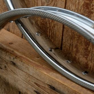 Felge Moped 23 x 2,00 (1.20-19)  verchromt, 36 Loch, gepunzt, 38 mm breit, Kastenprofil m. Bremsflanke