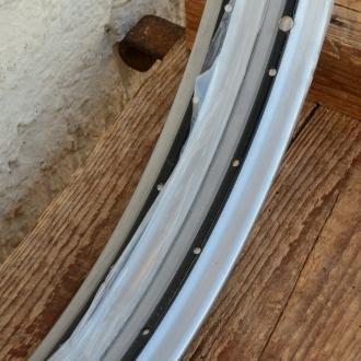 """Felgen Satz Draht 28"""" x 1,75 (622)  Stahl chromsilber gepulvert, Linierung schwarz, 36/36 Loch, 37,5mm breit, Nippelbohrung 4,5mm"""