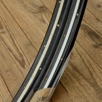 """Fahrradfelge Satz f. Wulstbereifung, 26"""" x 1 1/2 (584), Stahl, schwarz/weiss, orig. 30-50er Jahre, 36 Loch, 33mm breit"""