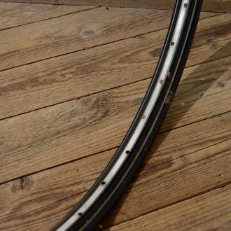"""Fahrradfelge f. Drahtbereifung, 28"""" x 1.75, (622), Stahl, schwarz, gold gefl.., 30-50er Jahre, 36 Loch, 36mm breit"""