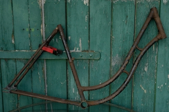"Fahrradrahmen  ""OPEL"",  Damenausf., schwarz, 28 Zoll ,  RH=54cm, 30er J."