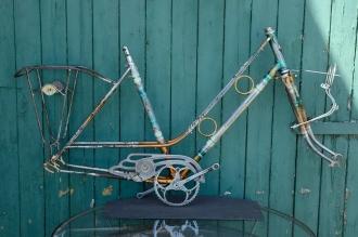 "Fahrradrahmen  ""LINDOR"",  Damenausf., SPORT, mehrfarbig , 28 Zoll,  RH=52cm, 50/60er J., incl. Gabel u. Tretlager"