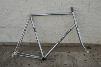 "Fahrradrahmen, ""FAGGIN"", Rennrahmen, vollverchromt , 28 Zoll,  RH=64cm, 70/80er J., incl. Gabel u. Tretlager"