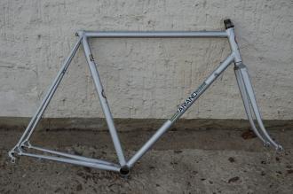 """Fahrradrahmen, """"ARIANO"""", Rennrahmen, silber , 28 Zoll,  RH=57cm, 70/80er J., incl. Gabel ohne Steuersatz"""
