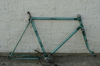 "Fahrradrahmen  ""WANDERER"",  Herrenausf., Sport, grün/silber , 26 Zoll,  RH=56cm, 50er J., incl. Gabel u. Tretlager"