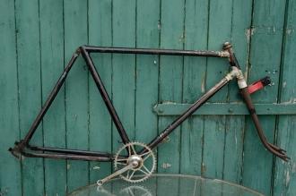 """Fahrradrahmen  """"ANKER"""",  Herrenausf., schwarz , 28 Zoll,  RH=55cm, 50er J., incl. Gabel u. Tretlager"""