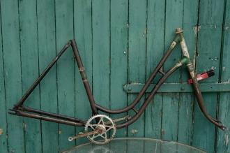 """Fahrradrahmen  """"NSU"""",  Damenausf., schwarz / grün-silber , 28 Zoll,  RH=54cm, 50er J., incl. Gabel u. Tretlager"""