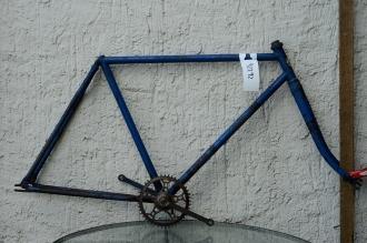 "Fahrradrahmen  ""OPEL"",  Herrenausf., blau überlackiert, 28 Zoll,  RH=55cm, 30er J., incl. Gabel u. Tretlager"
