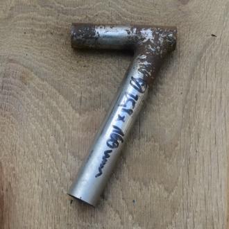 Winkelsattelstütze, Durchmesser: 25,8 mm, Länge: 160 mm, gebraucht, orig. 10-40er Jahre, Zustand siehe Bilder.