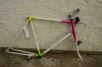 Fahrradrahmen MTB 26 Zoll, rarer Ishiwata-Rohrsatz handgelötet in Deutschland 90er J.,  Rahmenhöhe 58 cm, mit Bremsanlage