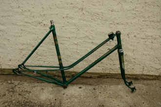 "Fahrradrahmen ""Victoria VS 128D"", grün, 50er Jahre, neuwertiger Lack, mit Tacho, 26 Zoll, Rahmenhöhe = 55 cm"
