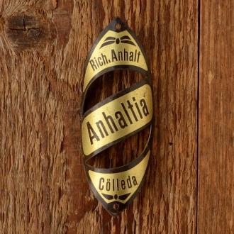 """Steuerkopfschild  """"ANHALTIA"""", 30/50er Jahre,  Originalschild aus Sammlungsauflösung !"""