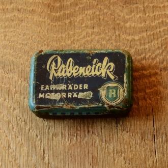 """Flickzeug Blechdose """"RABENEICK"""" orig. 50er Jahre, 60 x 42 x 15 mm, ohne Inhalt"""