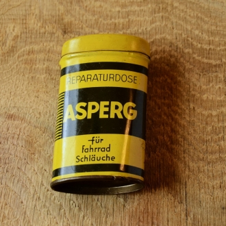 """Flickzeug Blechdose """"ASPERG"""" orig. 50er Jahre, 84 x 48 x 24 mm, ohne Inhalt"""