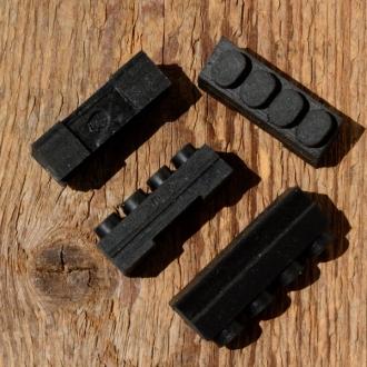 Bremsklötze für Rennradklassiker / Sportrad,  orig. Satz 4 Stück, schwarz, ca. 35,5 x 11 mm