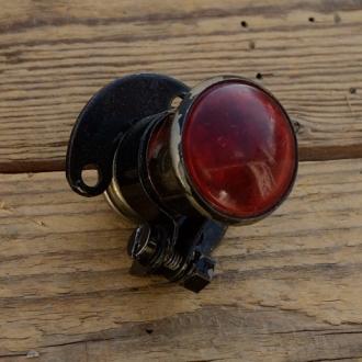 Rücklicht mit Kennzeichenleuchte Hilfsmotor Motorfahrrad, orig. 30er Jahre, Lichtaustritt ca. 30 mm, NOS