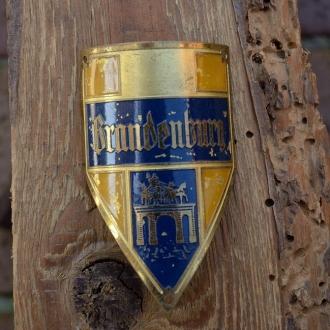 Steuerkopfschild BRANDENBURG, gold, 30-50er Jahre, Originalschild aus Sammlungsbestand