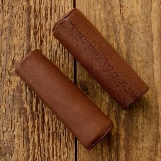 Ledergriffe Ziegenleder antik-braun, 22mm, 100mm lang, schlanke Form
