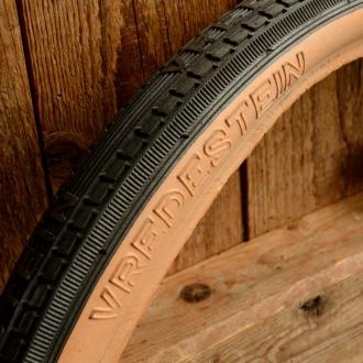 Fahrrad Reifen  VREDESTEIN,   20 x 1.75 (47-406), schwarz mit brauner Flanke, orig. 60-80er J. Altbest. (rissig/brüchig)