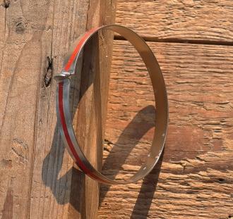 Hosenspange, vernickelt, mit rotem Sicherheitsstreifen