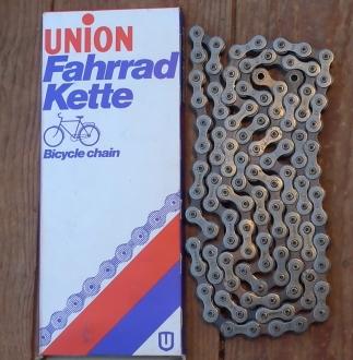 """Fahrradkette """"UNION """" 1/2 x 1/8 Zoll, 112 Glieder, incl. Kettenschloß,  orig. 60-80er Jahre Altbestand"""