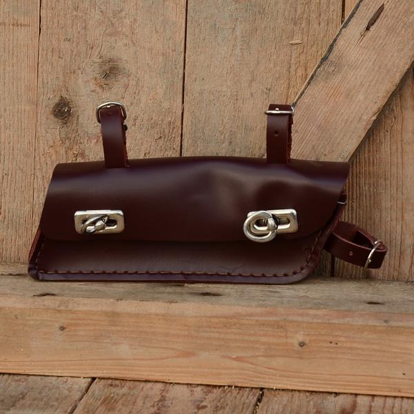 Velo Classic Shop Werkzeugtasche Leder Rotbraun Trapezform
